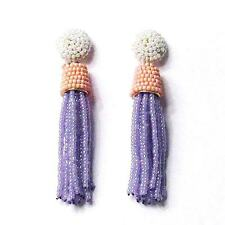 ROMANTIC PEARLY PINK LILAC OMBRE BEADED TASSEL STATEMENT EARRINGS
