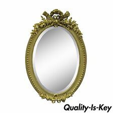 Antique French Louis XVI Style Gold Gilt Torch Flame Gesso Oval Mirror Vintage