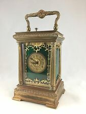FRENCH CARRIAGE CLOCK. c.1880-1900, Green Guilloche enamel