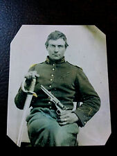 Civil War Military  UNIDENTIFIED Soldier with Pistol & Sword TinType C900NP