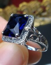4ct*Blue Sapphire* & Pearl Sterling Silver Art Deco Design Filigree Ring Size: 6