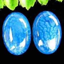 2Pcs Beautiful Water Blue Dragon Veins Agate Oval Cab Cabochon 30*20*6mm DD941