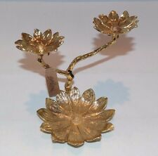 Genuine Lucky Brand Gold Tone Triple Flower Jewelry Stand JLRU6605 NIB NWT