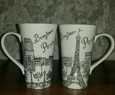 222 Fifth BONJOUR EIFFEL TOWER PARIS Latte Mug 10473456 Preowned