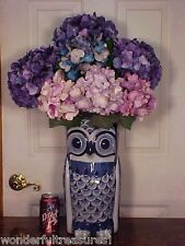 "LG Nearly 15""T OWL SHAPED Delft Style COBALT BLUE White UMBRELLA STAND VASE FAB!"