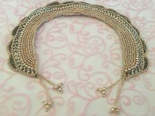 Vintage 1950s Beaded Silver Glass Sequins & Faux Pearl Ladies Collar w/ tassels