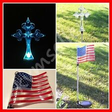 Solar Light 1 Solar Flag and 1 Cross Garden Yard Decor Solar Light