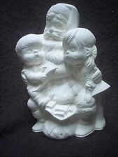 """E414 - 7"""" Ceramic Bisque Santa with Children- Ready to Paint"""