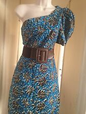 ONE SHOULDER AFRICAN PRINT SUN DRESS Small, Knee Length,