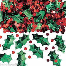 2 Bags Festive Holly & Berries Christmas Party Foil Confetti Table Sprinkles