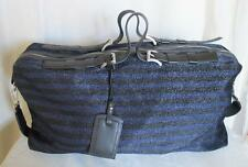 Armani Emporio Travel Bag Black & Blue Stripe Fabric w Leather Straps Large