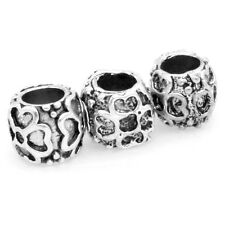 50pcs Retro Vintage Silver Tone Color Alloy Flower Patterns Charms Europ Beads J
