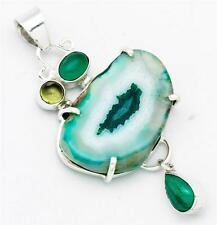 34.6ct.Huge Solar Quartz, Green Onyx Pendant Solid 925 Silver Jewelry IP23656