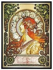 Alphonse Mucha ZODIAC Stained Glass Panel ART NOUVEAU MAIDEN 1896