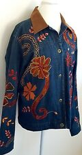 Coldwater Creek Denim Jacket Jeans Coat Embroidered Boho Hippie Plus Size 18 20