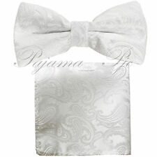 Brand Q Men's Bow Tie Paisley Pre-tied Colors Bowtie And Pocket Square Hanky Set