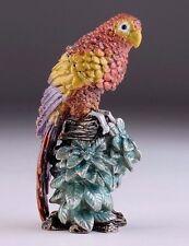 Parrot Faberge hand made  by Keren Kopal trinket box Austrian crystals