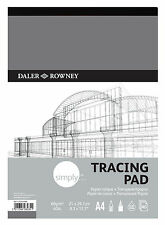 DALER ROWNEY SIMPLY A4 TRACING PAPER PAD 60gsm 40lb ACID FREE 40 SHEETS