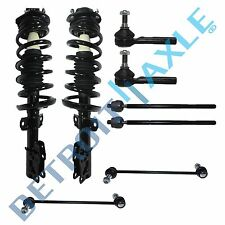 Both (2) Front Strut Assembly + 2 Front Sway Bar Links + 2 Outer Tie rod Ends