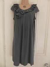 Gorgeous grey jersey fabric size 8 dress from Next with 3D flowers and ruffle