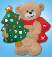 Felt Embroidery Kit ~ Design Works Bear and Tree Christmas Ornament #DW577