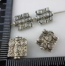 16pcs Tibetan Silver Rectangle WHORL Spacer Beads 10x12mm  (Lead-free)