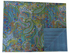 INDIAN PAISLEY QUEEN KANTHA QUILT GRAY COTTON THROW BED COVER BEDSPREAD BEDDING