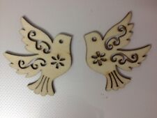 8 NATURAL WOODEN DOVE BIRD WEDDING CARD MAKING SCRAPBOOKING CRAFT EMBELLISHMENTS