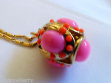 "J.Crew Gold Tone Neon Pink Color Egg Ball Drop Chain Necklace 32""L"
