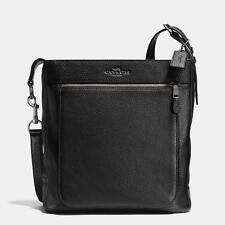 COACH Bleecker Men's Pebbled Wyatt Field Bag - Gunmetal/Black F71510 - NWT