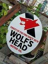 "Antique Vintage Old Style Wolf's Head Motor Oil Sign 23""!"