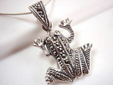 Frog Marcasite Necklace 925 Sterling Silver Corona Sun Jewelry toad