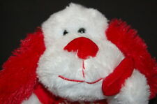 """LOVE HEART PUPPY DOG 9"""" PLUSH WAL MART WHITE RED  STUFFED ANIMAL LOVEY TOY"""