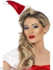 Christmas Mini Miss Red Velvet Santa Hat On Headband With Pom Pom Fancy Dress