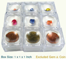 12  PCS OF CLEAR PLASTIC LENS ON TOP GEMSTONE GEM COINS JAR JEWELRY DISPLAY BOX