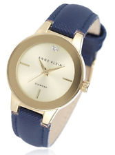 Anne Klein Womens Chloe Diamond Dial Leather Strap Watch - Navy