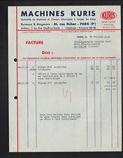 """PARIS (IX°) MACHINES & CISEAUX ELECTRIQUES à couper les TISSUS """"KURIS"""" en 1936"""