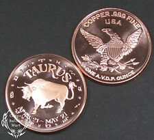 "1oz Copper Bullion Round - Sign of the Zodiac ""TAURUS"" Design"