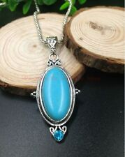Retro design Tibet silver Carving oval shape turquoise pendant&Sweater necklaces