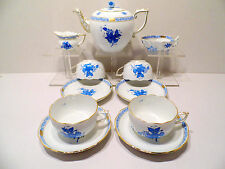 HEREND CHINESE BOUQUET BLUE TEA SET,FOR FOUR,12 PCS.,BRAND NEW BOXED