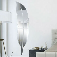 Splicing Feather Mirror Wall Sticker 3D Mirror Tile DIY Home Room Decor  Uk