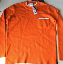 LACOSTE Sweater Mens Size 5 Wool Crewneck Heathered Orange Sweater France Wool
