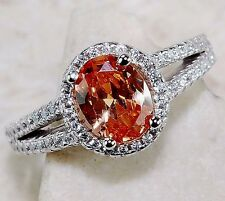 2CT Padparadscha Sapphire & Topaz 925 Solid Sterling Silver Ring Sz 6, T5-6