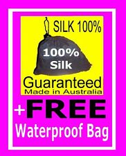 100% PURE SILK Sleeping Bag Liner & WATERPROOF COVER -perfect for camping & hols