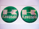 3D green / chrome KAWASAKI stickers decals resin diam. 4,5 cm - set of 2 pieces