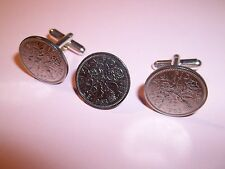 SIXPENCE COIN CUFFLINKS AND TIE PIN SET - 1967 - 50th BIRTHDAY