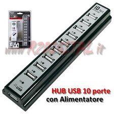 HUB 10 PORTE a CIABATTA USB 2.0/3.0 con ALIMENTATORE SEPARATO SDOPPIATORE SPEED