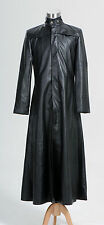 Matrix Neo Long Black Leather Coat Costume tailored