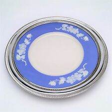 1930s Lenox Apple Blossom Plate Blue & Ivory w/ Gadroon Sterling Silver Border