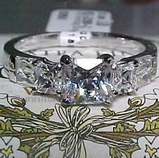 925 STERLING SILVER PAST PRESENT FUTURE PRINCESS RING BAGUETTE ACCENTS SIZE 6